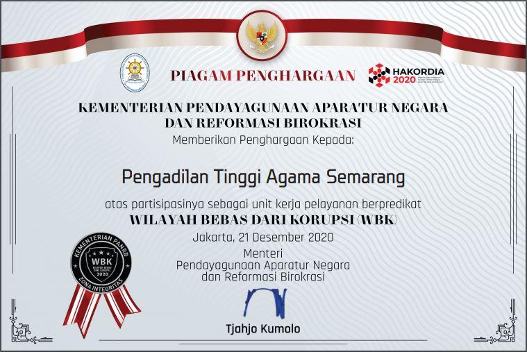 Pengadilan Tinggi Agama Semarang Mendapat Predikat Wilayah Bebas Korupsi (WBK)